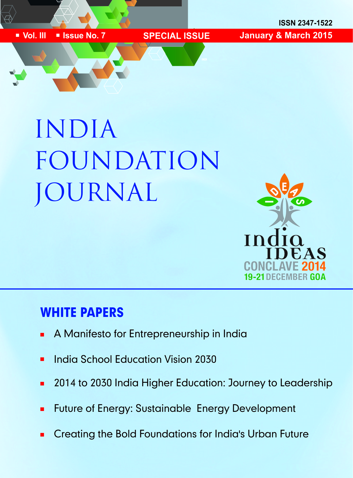India Foundation Journal – January & March 2015