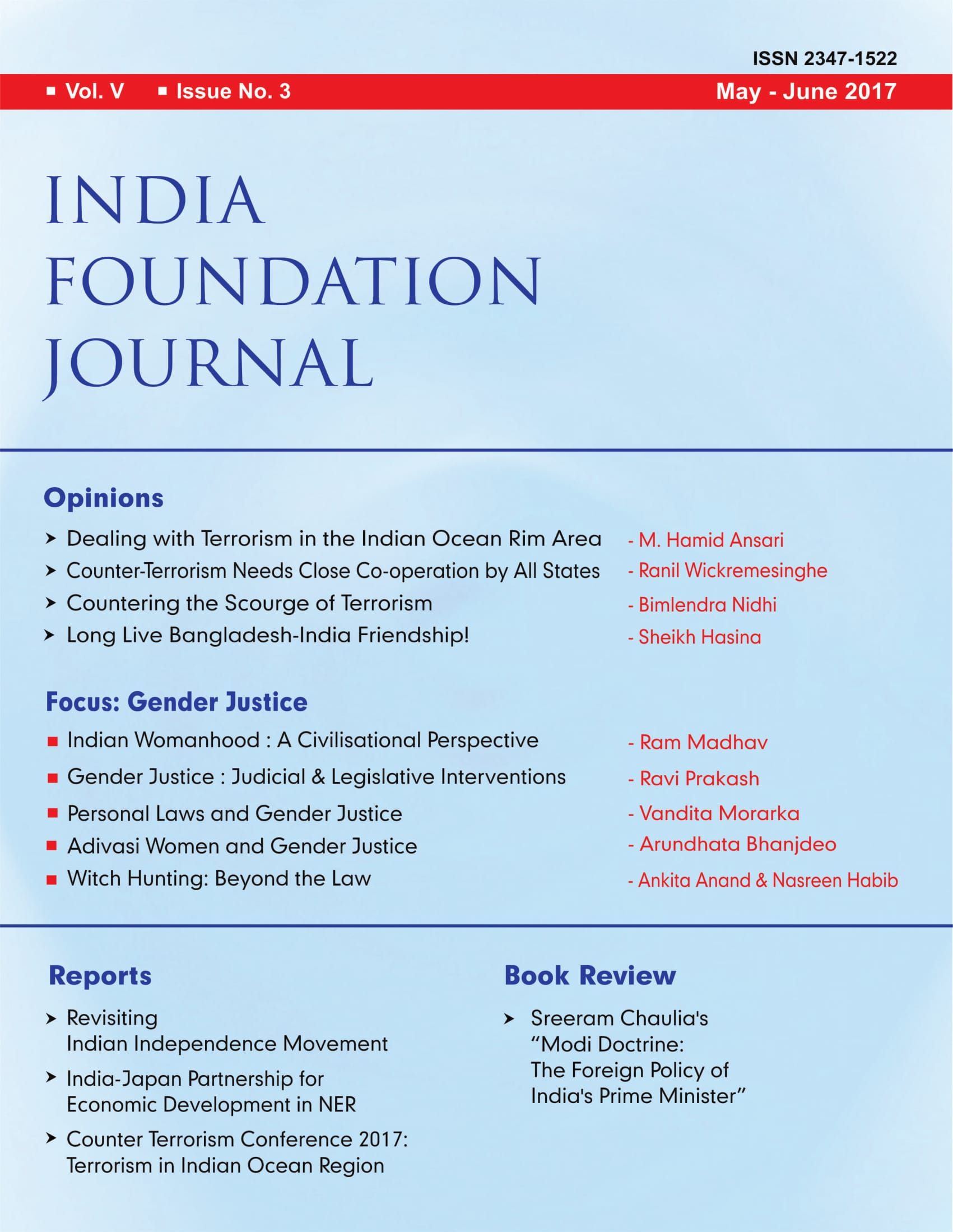 India Foundation Journal Issue No. 3 (Vol V)
