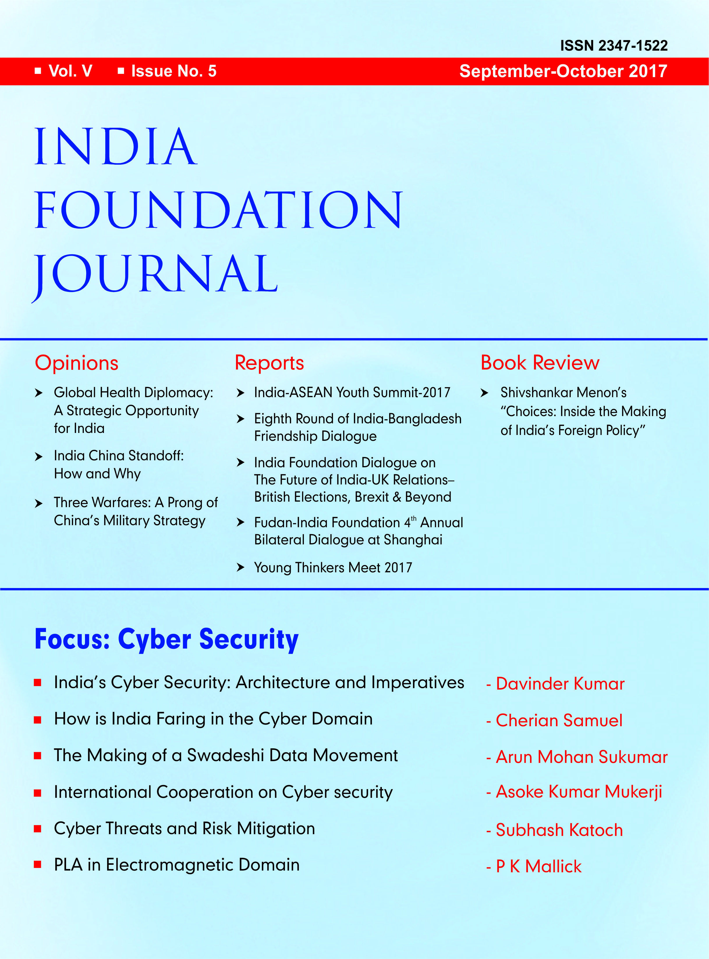 India Foundation Journal September October 2017