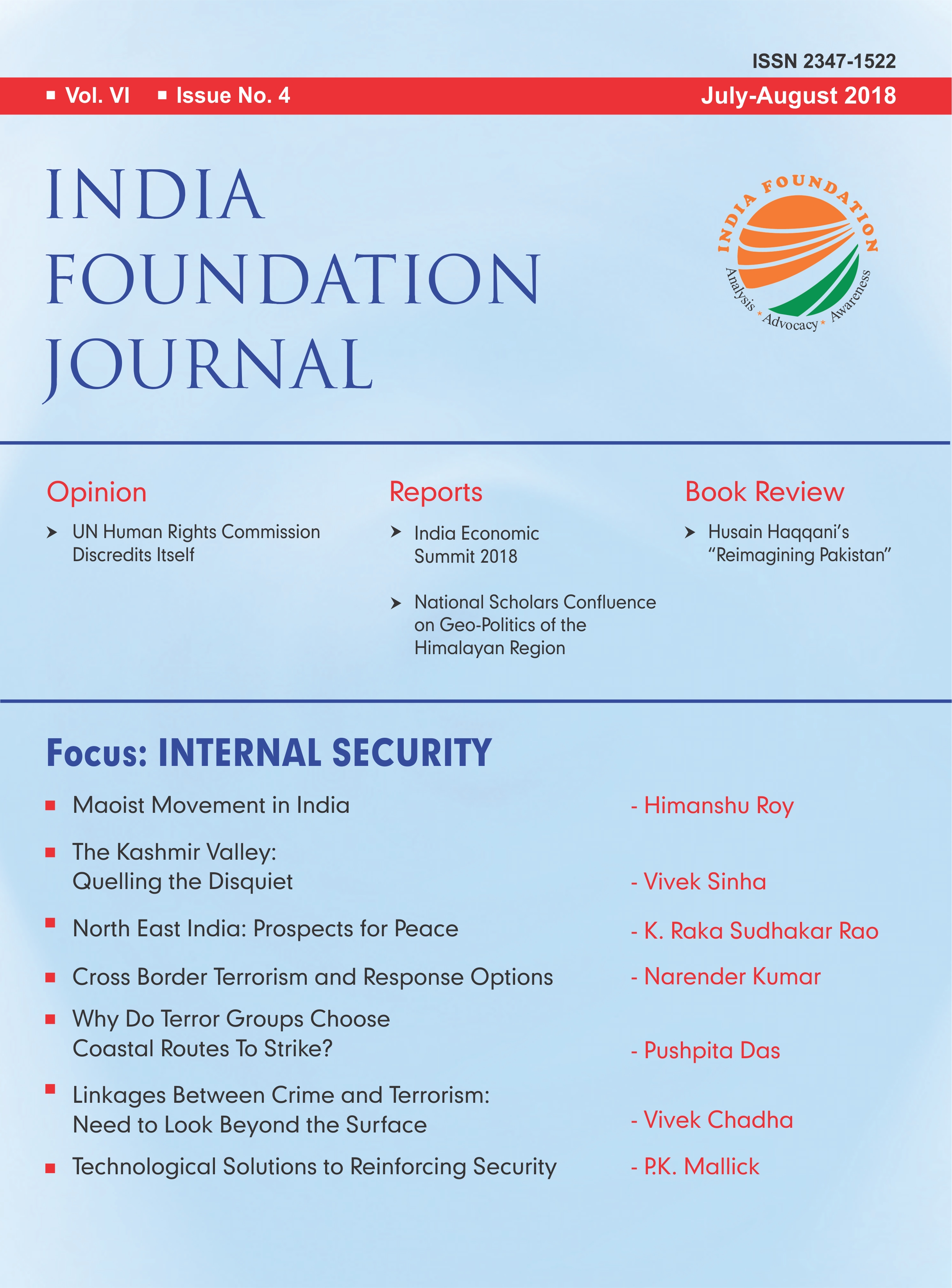 INDIA FOUNDATION JOURNAL July August 2018