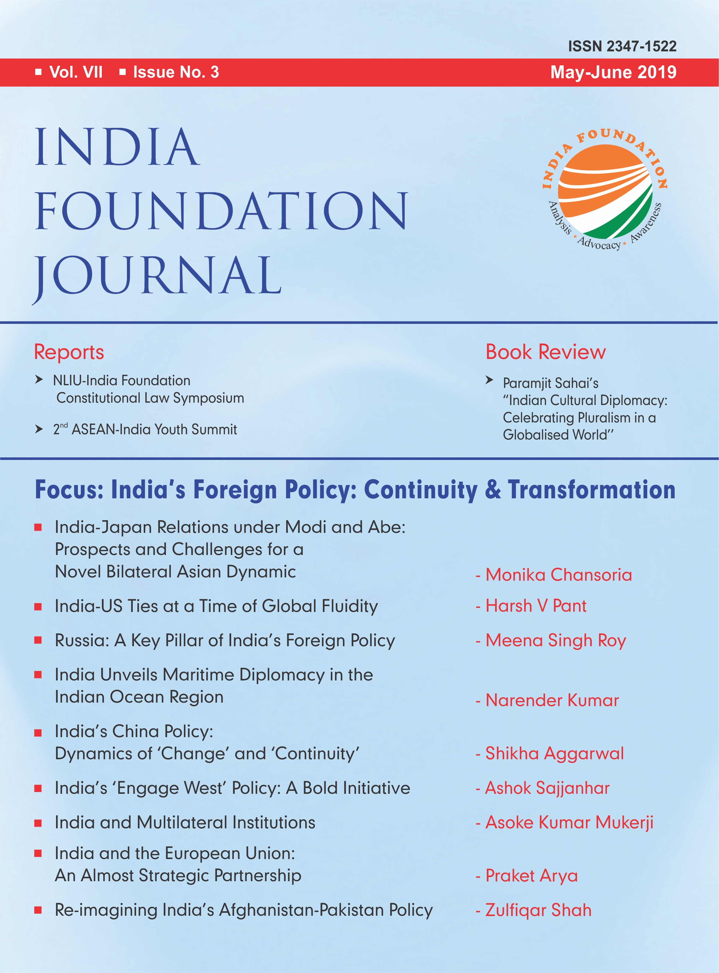 India Foundation Journal  May-June 2019 VOL VII – ISSUE NO 3